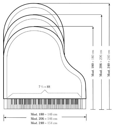 Types and sizes of pianos for How much space does a baby grand piano need